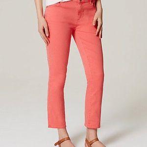 Ann Taylor Loft Curvy Kick Crop Jeans Melon 2